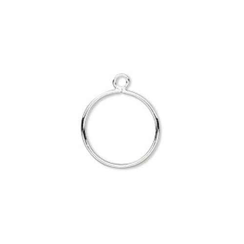 Drop, silver-plated brass, 12mm open round (2pk)