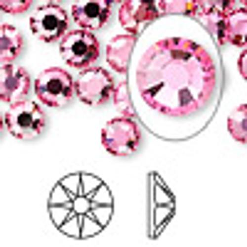 6pk SS34 Rose Flat Back Crystal (2088)