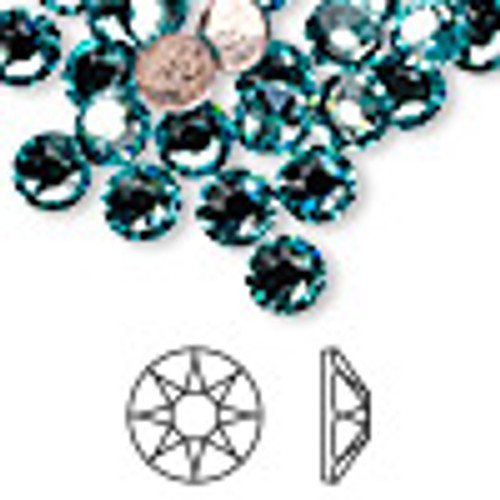 6pk SS34 Light Turquoise Flat Back Crystal (2088)