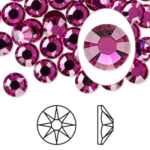 6pk SS34 Fuchsia Flat Back Crystal (2088)