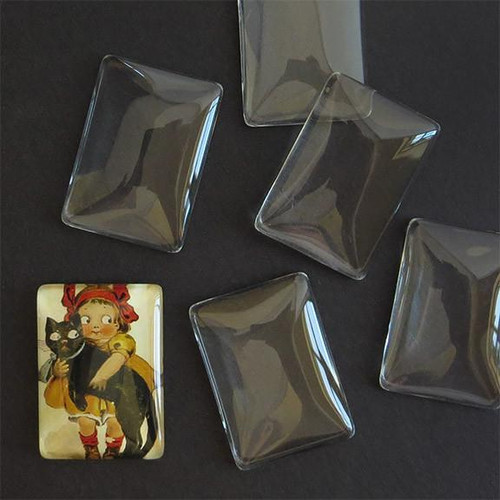 25mm x 35mm Rectangle Glass Cabochon (1 Piece)