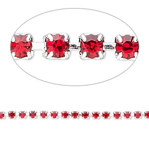 Cupchain, glass rhinestone and silver-plated brass, light red, 2mm round (SOLD PER FOOT)
