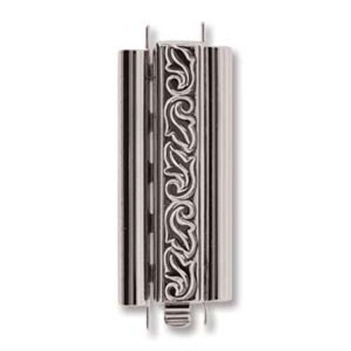 10x29mm Beadslide Swirl Rhodium Silver (1 Clasp)