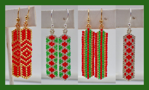 Odd Count Peyote Column Earring Christmas Bundle PDF INSTANT DOWNLOAD Pattern
