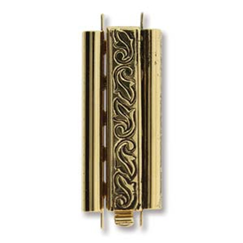 10x29mm Beadslide Swirl Gold Plated (1 Clasp)
