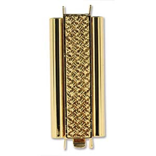 10x29mm Beadslide Crosshatch Bright Gold Plated (1 Clasp)