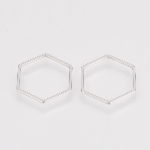 Stainless Steel Linking Ring, Hexagon, Stainless Steel Color, 20x22.5x0.8mm
