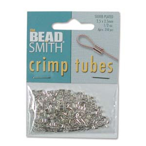 2.5x2.5mm Silver Plated Crimp Tubes (250 Pack)