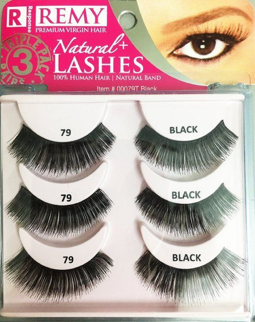 Remy Natural Lashes 3 Pack 79T Black