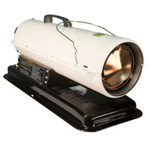 RIGHT ANGLE VIEW OF WHITE KEROSENE FORCED AIR HEATER WITH BLACK FUEL TANK AND CARRY HANDLE