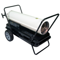 RIGHT ANGLE VIEW OF WHITE KEROSENE FORCED AIR HEATER WITH HANDLE KIT, CORD WRAP AND FLAT FREE ALL SEASON TIRE