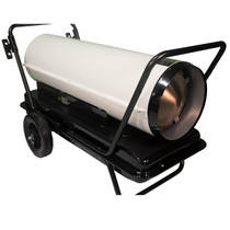 RIGHT ANGLE VIEW OF WHITE KEROSENE FORCED AIR HEATER WITH HANDLE KIT, CORD WRAP AND AIR FILLED TIRE