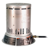 REAR VIEW OF PROPANE CONVECTION HEATER WITH IDENTIFICATION STICKER VISIBLE