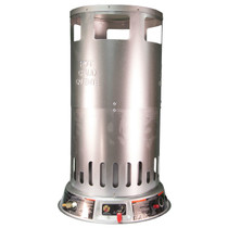 FRONT VIEW OF PROPANE CONVECTION HEATER WITH BALL VALVE HANDLE, IGNITER AND GAS INLET VISIBLE