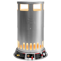 FRONT VIEW OF PROPANE CONVECTION HEATER GLOWING WITH BALL VALVE HANDLE, IGNITER AND GAS INLET VISIBLE