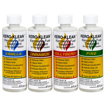 4- 8OZ BOTTLES OF KEROSENE FUEL TREATMENT WITH WHITE AND YELLOW KERO-KLEAN LABELS