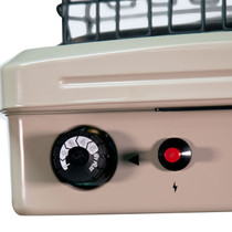 REAR VIEW OF BEIGE HEATER SHOWING THERMOSTAT SENSING BULB, MODEL IDENTIFYING TAGS AND LIQUID PROPANE OR NATURAL GAS SELECTIONS