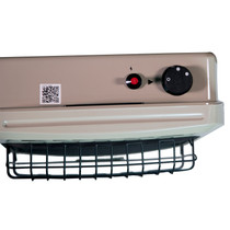 TOP VIEW OF BEIGE HEATER WITH MANUAL CONTROL KNOB AND PIEZO IGNITER BUTTON