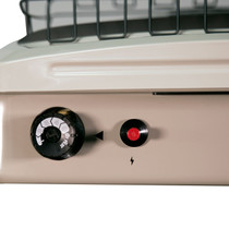 TOP VIEW OF BEIGE HEATER WITH THERMOSTAT CONTROL KNOB AND PIEZO IGNITER BUTTON