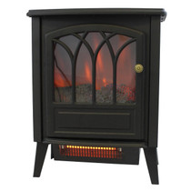 FRONT VIEW OF GLOWING BLACK ELECTRIC STOVE