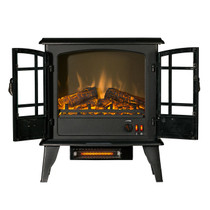 FRONT VIEW OF GLOWING BLACK ELECTRIC STOVE WITH FRONT DOORS OPEN