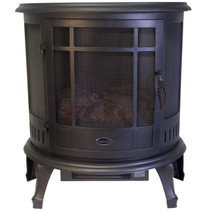 FRONT VIEW OF BLACK ELECTRIC STOVE WITH 3 SIDED VIEWING