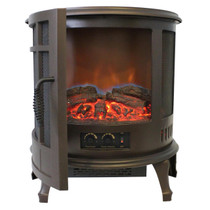 FRONT VIEW OF GLOWING BRONZE ELECTRIC STOVE WITH FRONT DOOR OPEN