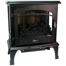 RIGHT ANGLE VIEW OF BLACK ELECTRIC STOVE WITH 3 SIDED VIEWING
