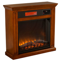 RIGHT ANGLE VIEW OF GLOWING ELECTRIC FIREPLACE IN VINTAGE OAK FINISH