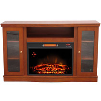 FRONT VIEW OF ELECTRIC FIREPLACE  GLOWING IN A CHESTNUT FINISHED MEDIA CENTER
