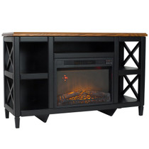 RIGHT ANGLE VIEW OF ELECTRIC FIREPLACE GLOWING IN A BLACK MEDIA CENTER WITH WOOD GRAIN TOP