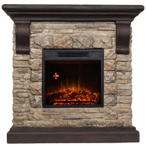 FRONT VIEW OF GLOWING ELECTRIC FIREPLACE WITH TAN FAUX STONE AND BROWN MANTLE