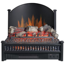 FRONT ANGLE VIEW OF GLOWING ELECTRIC LOG SET WITH BLACK BACKSPLASH