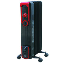 LEFT ANGLE VIEW OF BLACK RADIATOR STYLE HEATER