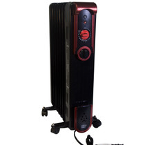 RIGHT ANGLE VIEW OF BLACK RADIATOR STYLE HEATER