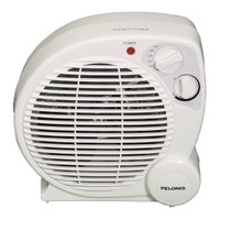 FRONT VIEW OF BEIGE PORTABLE ELECTRIC HEATER