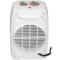 BACK VIEW OF BEIGE PORTABLE ELECTRIC HEATER