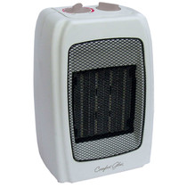 RIGHT ANGLE VIEW OF BEIGE PORTABLE ELECTRIC HEATER