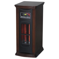 FRONT VIEW OF WALNUT FINISHED RECTANGLE TOWER HEATER QUARTZ BULBS GLOWING