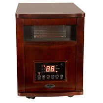 FRONT VIEW OF RECTANGLE QUARTZ CABINET WITH HERITAGE CHERRY FINISH DISPLAY ON