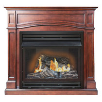 FRONT VIEW OF FIREPLACE WITH FLAMES ON