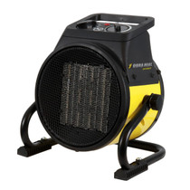 PORTABLE BLACK AND YELLOW HEATER FRONT LEFT ANGLE