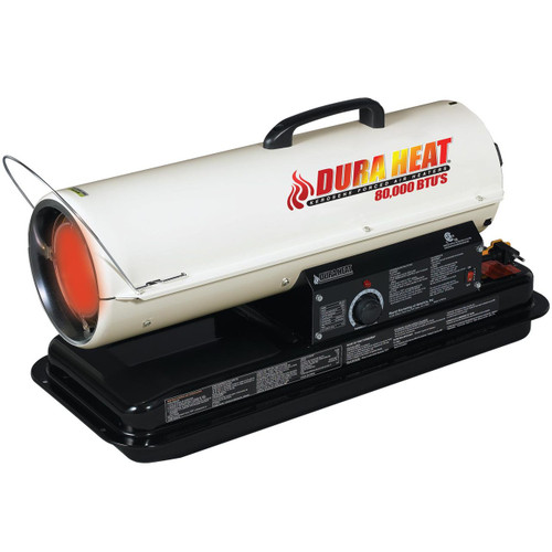 LEFT ANGLE VIEW OF WHITE KEROSENE FORCED AIR HEATER GLOWING WITH BLACK FUEL TANK AND CARRY HANDLE