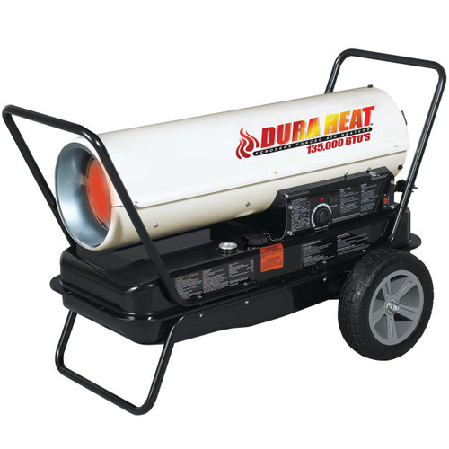 LEFT ANGLE VIEW OF WHITE KEROSENE FORCED AIR HEATER BURNING WITH HANDLE KIT AND FLAT FREE ALL SEASON TIRE