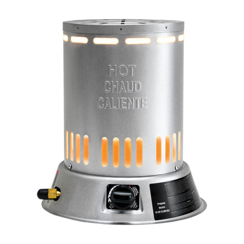 FRONT VIEW OF PROPANE CONVECTION HEATER GLOWING WITH CONTROL KNOB/IGNITER VISIBLE