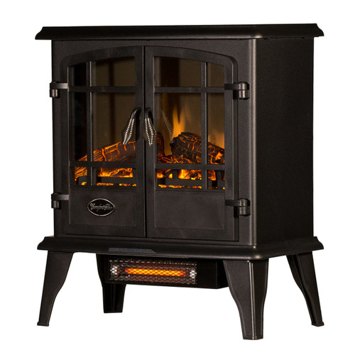LEFT ANGLE VIEW OF GLOWING BLACK ELECTRIC STOVE