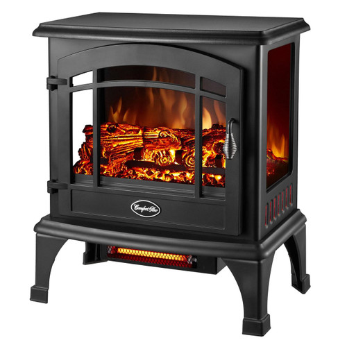 LEFT ANGLE VIEW OF GLOWING BLACK ELECTRIC STOVE WITH 3 SIDED VIEWING