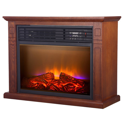 LEFT ANGLE VIEW OF GLOWING ELECTRIC FIREPLACE IN VINTAGE OAK FINISH