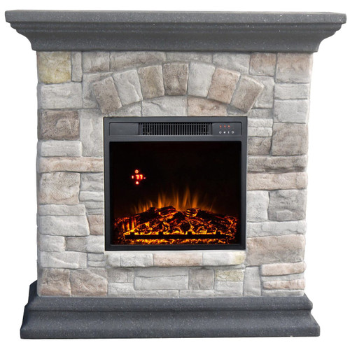 FRONT VIEW OF GLOWING ELECTRIC FIREPLACE WITH GRANITE FAUX STONE AND GRAY MANTLE