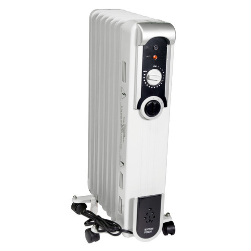RIGHT ANGLE VIEW OF WHITE RADIATOR STYLE HEATER